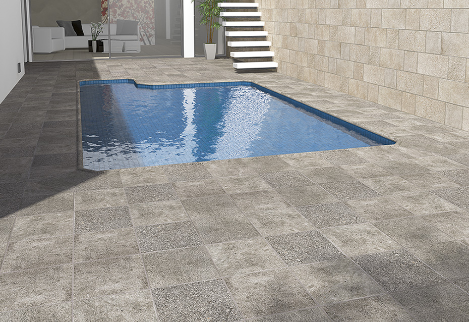 Pavimento:  GRANITE GROSSETO 30x30  · BORDE PISCINA GROSSETO 30x36/4 · BORDE PISCINA ESQ INT GROSSETO 51,2x51,2 · BORDE PISCINA ESQ EXT GROSSETO 51,2x51,2 · Revestimiento:  GRANITE CARRARA 22,5x22,5 · 22,5x45