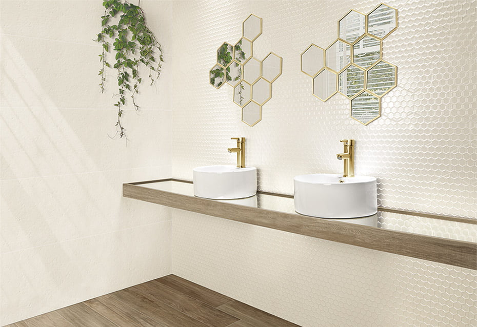 IMAGINE HEXAGON IVORY 14x16<br>AUSTRAL BEIGE 40x120<br>HYDE PARK 20x120