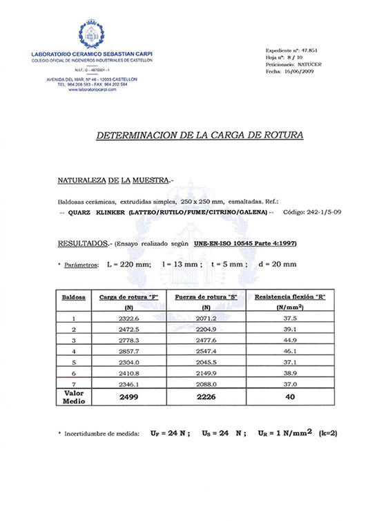 CERTIFICADO DETERMINATION OF THE BREAKING LOAD
