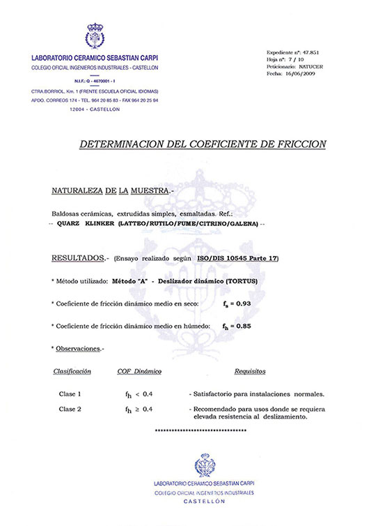 CERTIFICADO DETERMINATION OF FRICTION COEFFICIENT