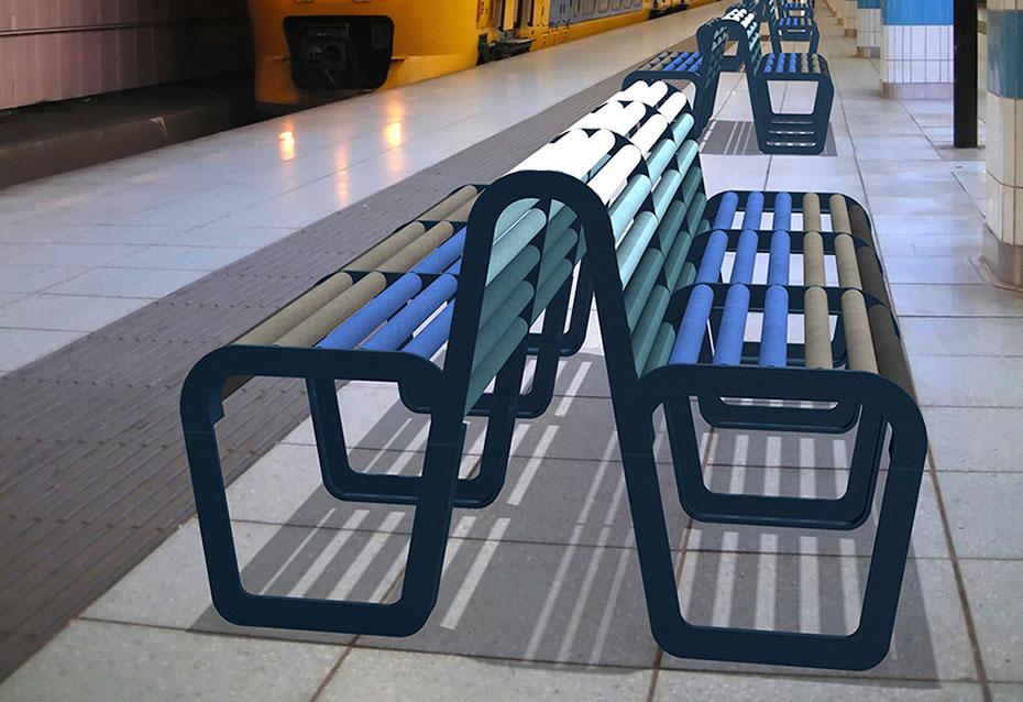 Combinacion doble banco circle mobiliario urbano Natucer
