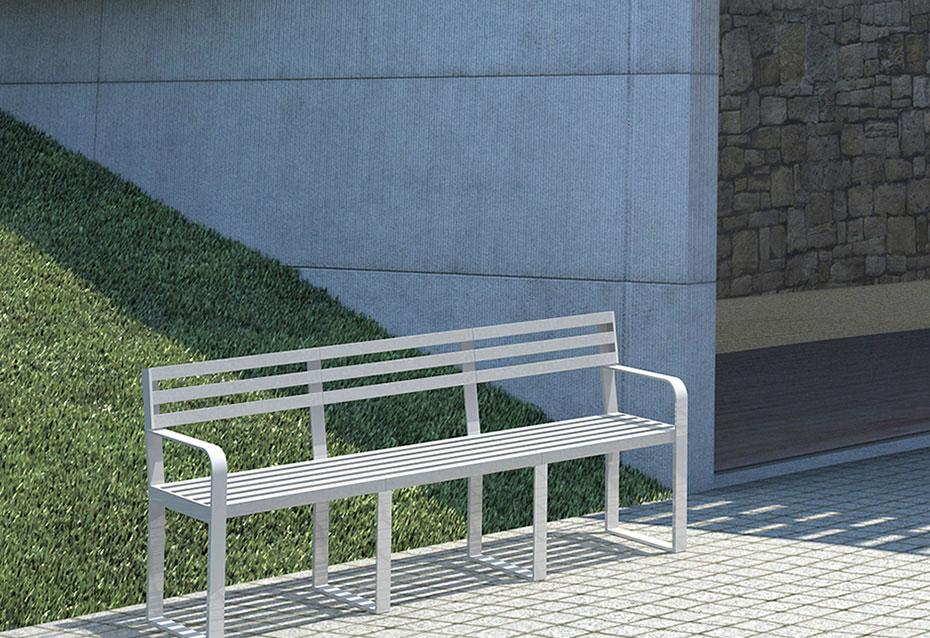 Banco brazos classic monocolor mobiliario urbano Natucer