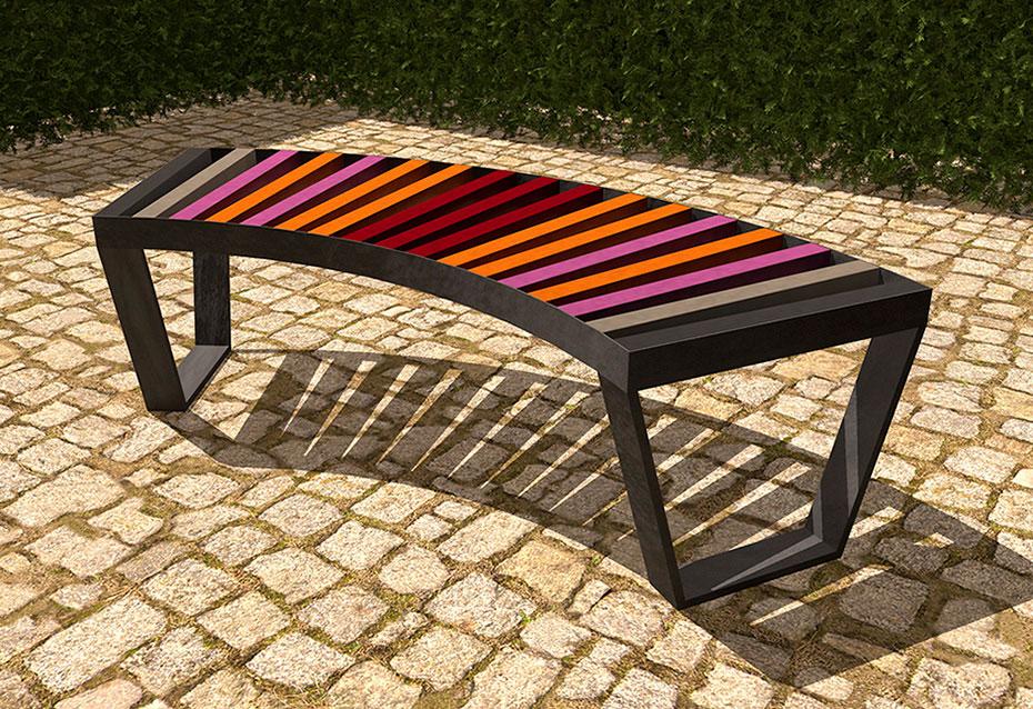 Banco curve mixto mobiliario urbano Natucer
