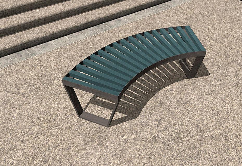 Banco curve monocolor mobiliario urbano Natucer