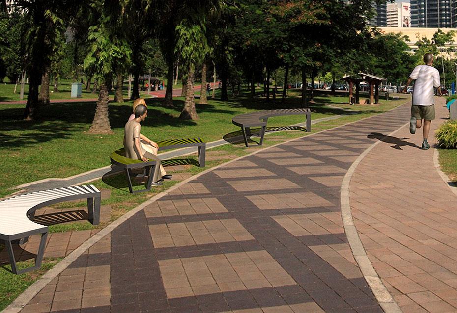 Combinacion doble banco curve monocolor mobiliario urbano Natucer