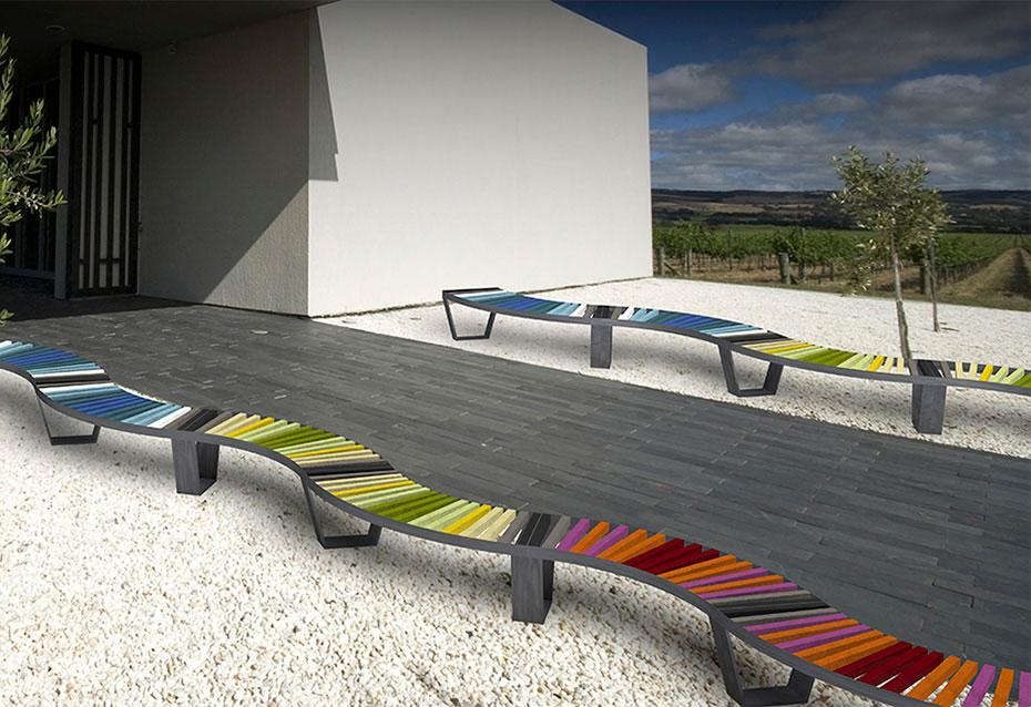 Combinacion zig zag banco curve mixto mobiliario urbano Natucer