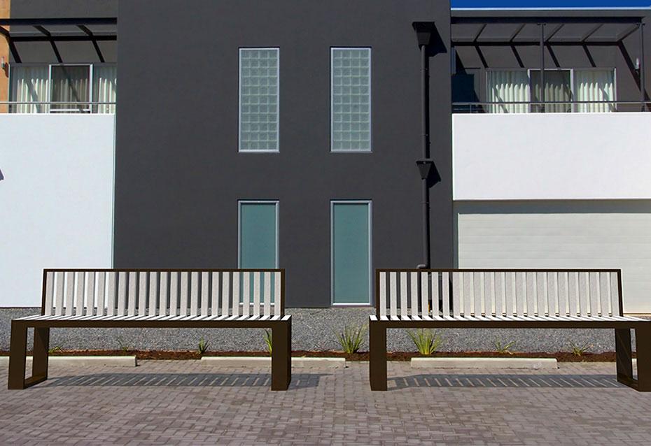 Banco respaldo Minimal monocolor mobiliario urbano Natucer